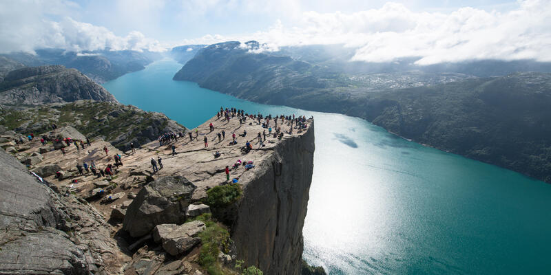 Aerial view of Cliff Preikestolen in fjord Lysefjord, Norway (Photo: Pe3k/Shutterstock)