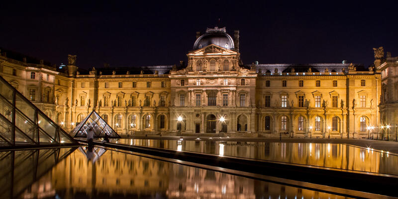 The Louvre in Paris, France shot at night with reflections from the pools (Photo: Nigel Wiggins/Shutterstock)