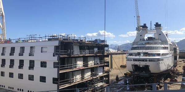 "A Windstar ship at the Fincantieri shipyard in Palermo, Sicily, at the start of the line's ""stretching"" renovation program"