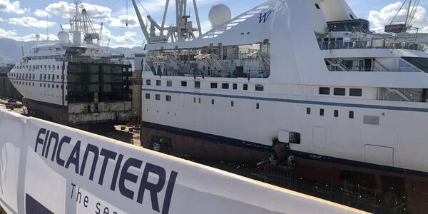 "Star Breeze at the Fincantieri shipyard in Palermo, Sicily, at the start of the line's ""stretching"" renovation program"