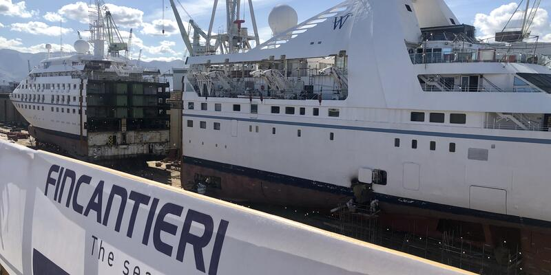 """Star Breeze at the Fincantieri shipyard in Palermo, Sicily, at the start of the line's """"stretching"""" renovation program"""
