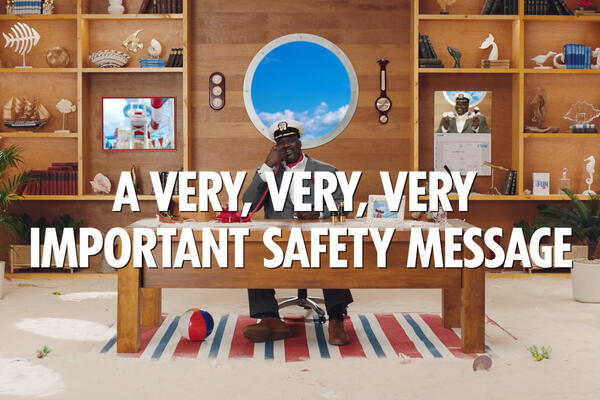 Shaquille O'Neal, Carnival Cruise Line's Chief Fun Officer, delivering an important safety message (Photo: Carnival Cruise Line)
