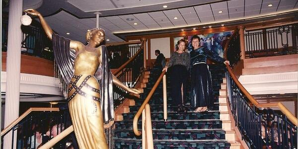 Old photo of Cruise Critic member lovelife and her sister on Grandeur of the Seas in 1997