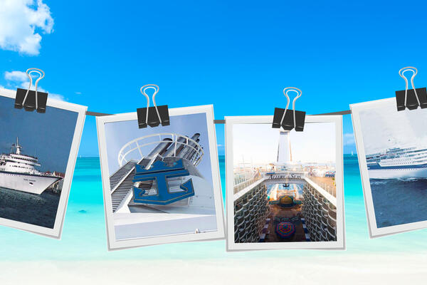 Polaroids of Royal Caribbean cruise ships hanging from a clothes line, with Caribbean beach in background
