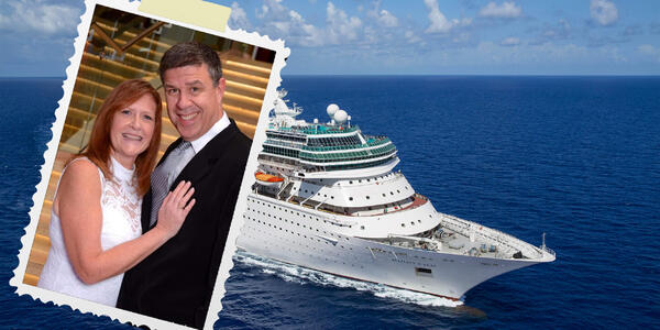 Composite photo of Majesty of the Seas and Cruise Critic member MCazer with her husband in 1992