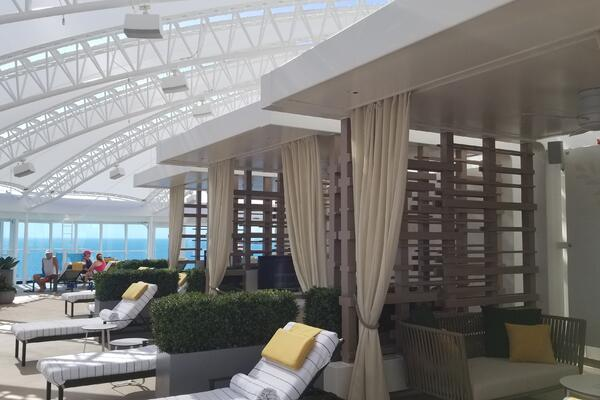 The Sanctuary onboard Sky Princess has seven cabanas for rent, plus one that comes with alfresco spa services (Photo: Colleen McDaniel/Cruise Critic)