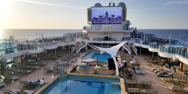 The pool deck on Sky Princess is spacious and well designed, with lots of deck chairs (Photo: Colleen McDaniel/Cruise Critic)