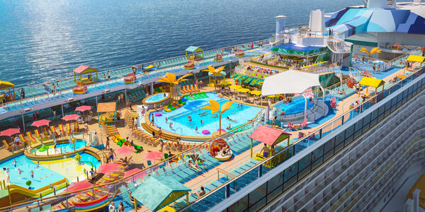 Aerial rendering of Royal Caribbean's colorful two-level pool deck on Odyssey of the Seas
