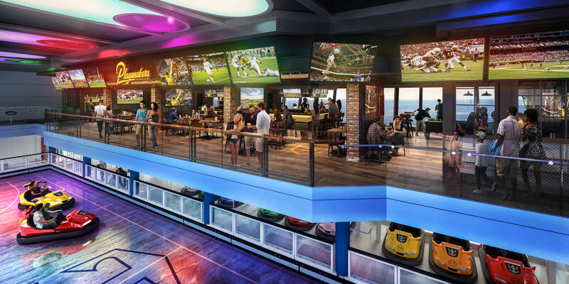 Colorful rendering of people watching the bumper cars in Odyssey of the Seas' SeaPlex from Playmakers Sports Bar & Arcade