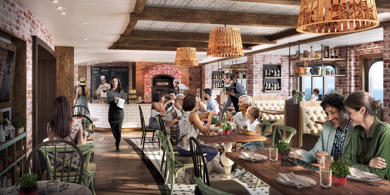 Interior rendering of passengers eating at Giovanni's Italian Kitchen & Wine Bar on Odyssey of the Seas