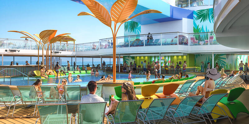 Rendering of passengers lounging by the resort-style pools on Odyssey of the Seas