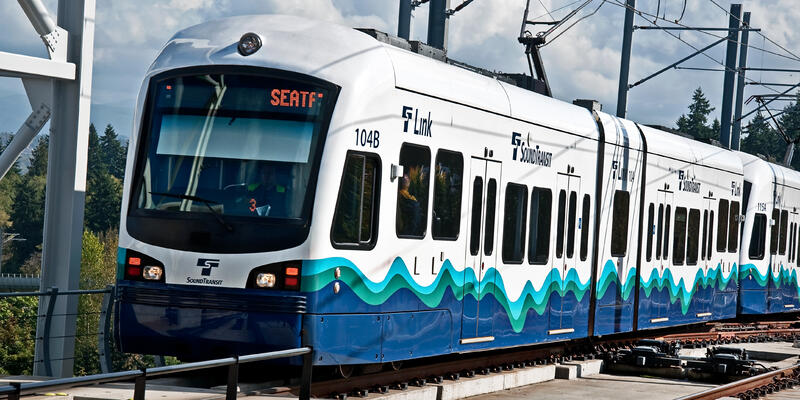 Exterior shot of the Link Light Rail train in Seattle