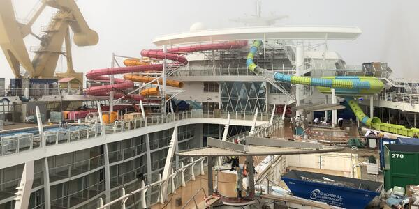 The Perfect Storm  under construction on Oasis of the Seas in drydock at the Navantia shipyard in Cadiz, Spain (Photo: Adam Coulter