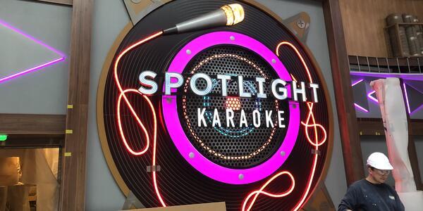 Spotlight Karaoke bar under construction on Oasis of the Seas in drydock at the Navantia shipyard in Cadiz, Spain (Photo: Adam Coulter)