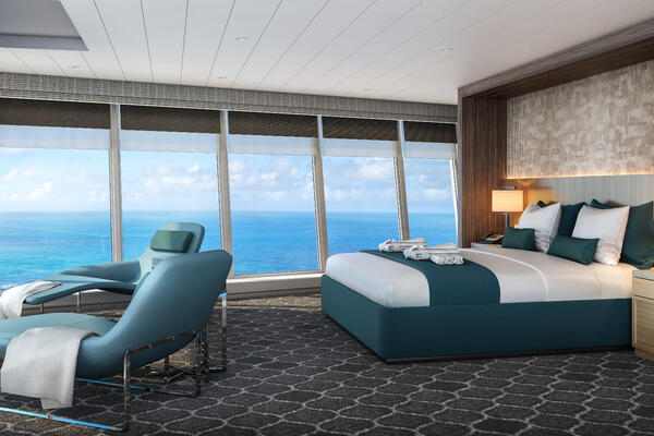 Artist render of the amplified Oasis of the Seas will debut Royal Caribbean's Ultimate Panoramic Suite category. (Image: Royal Caribbean)
