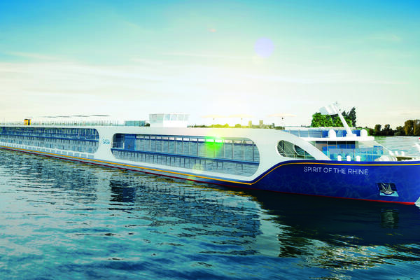 A rendering exterior image of Saga Cruises' new Spirit of the Rhine river ship