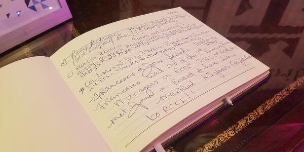 Passengers could sign a guest book onboard (Photo: Colleen McDaniel)
