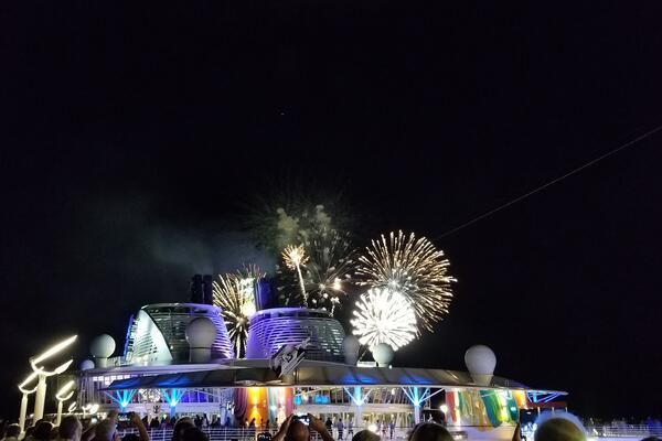 To celebrate Royal Caribbean's 50th birthday, passengers on Symphony of the Seas were treated to a fireworks display (Photo: Colleen McDaniel/Cruise Critic)