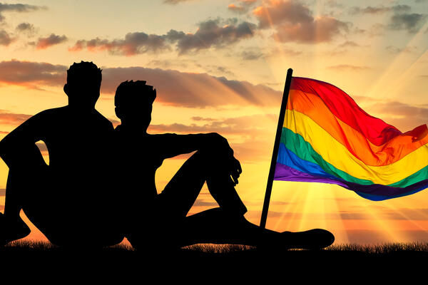 Silhouette of a couple with the rainbow flag in view overlooking a sunset (Photo: Prazis Images/Shutterstock)