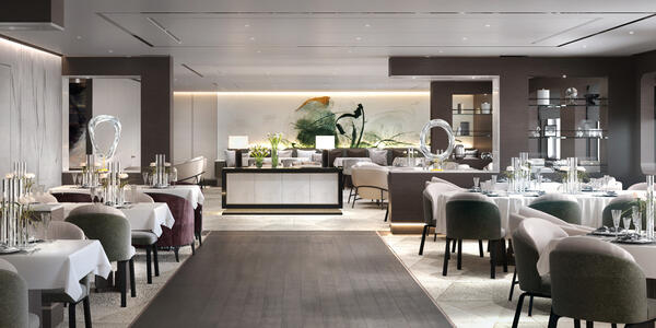 Rendering of the muted colored main dining room on Evrima