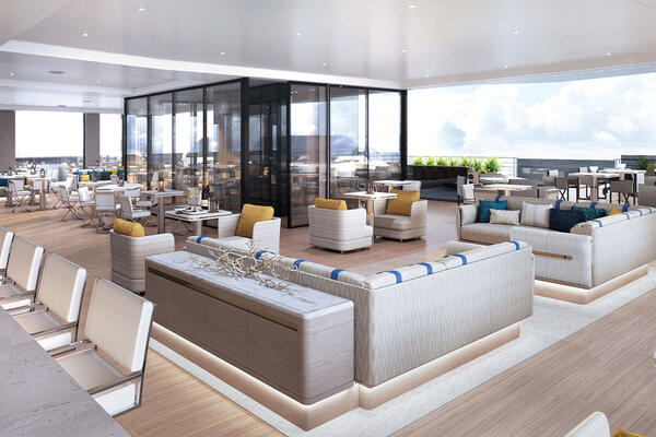 Rendering of the outdoor dining venue, The Pool House, on Evrima