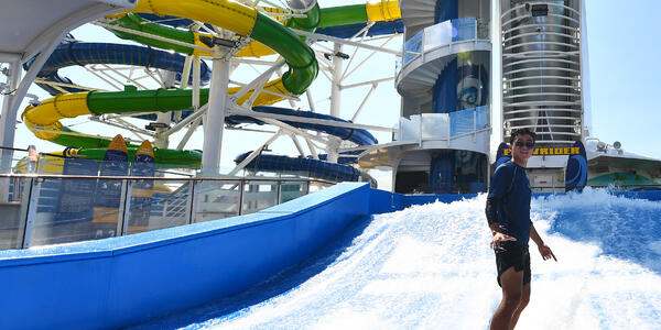 Voyager of the Seas waterside and FlowRider (Photo: Royal Caribbean Cruises)