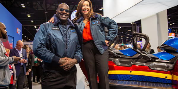 Carnival Chief Fun Officer, Shaquille O'Neal and Carnival President, Christine Duffy preparing to test drive Bolt Carnival's new roller coaster at sea (Photo: Carnival Cruise Line)