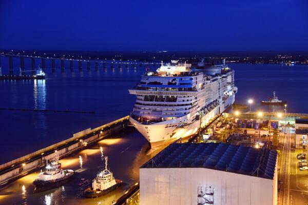 The float out of new MSC Virtuosa at the Chantiers de l'Atlantique shipyard in Saint-Nazaire, France. (Photo: Bernard Biger/Chantiers de l'Atlantique)