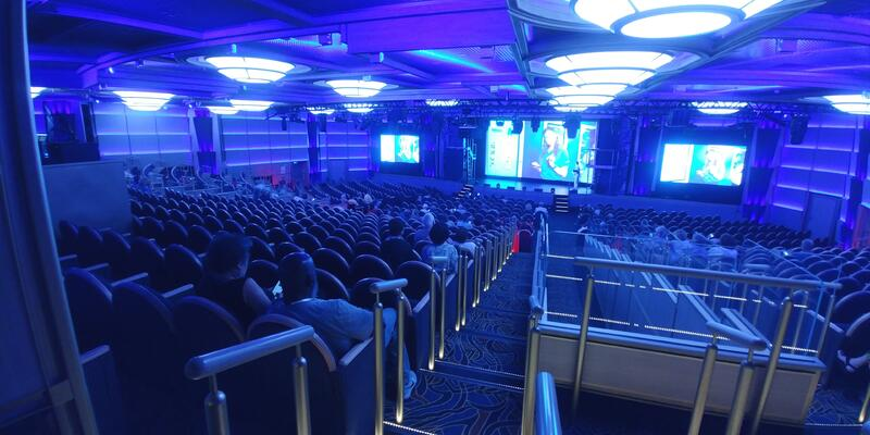 Wide-angle shot of the Theater on Sky Princess during a performance