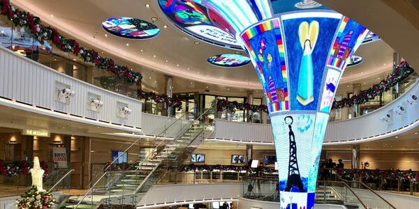 Wide-angle photo of the LED Atrium funnel on Carnival Panorama during Christmas