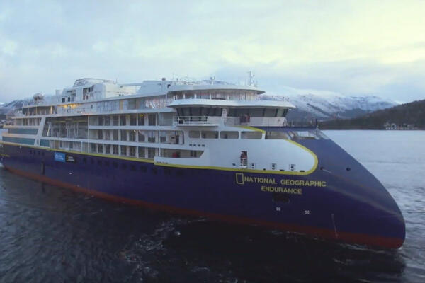 The float out of Lindblad's National Geographic Endurance at the Ulstein Verft shipyard in Norway on Dec. 7. (Photo: Lindblad Expeditions)