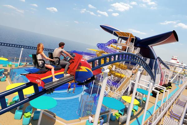 Artist rendering of the BOLT Roller Coaster on Carnival Mardi Gras (Image: Carnival Cruise Line)