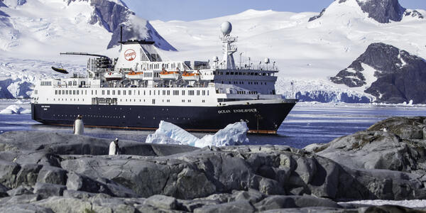 Ocean Endeavour chartered by Chimu Adventures and bearing livery branded by Intrepid Travel (Photo: Liam Neal/Intrepid Travel)