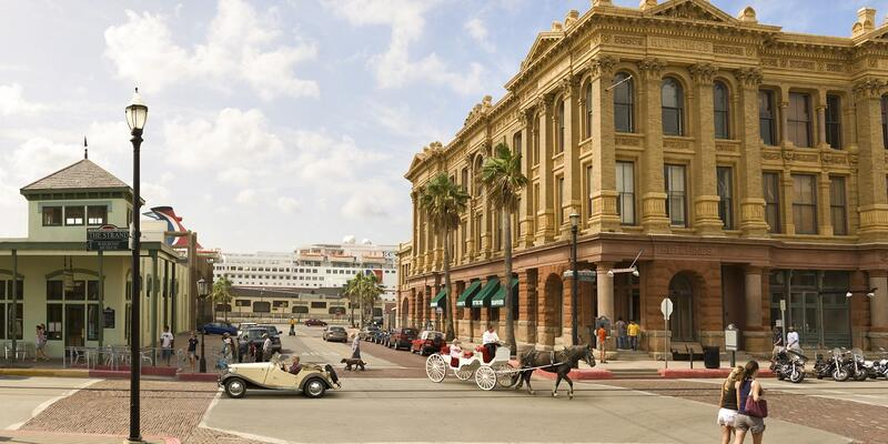 The Strand, a historic street in Galveston, Texas located near the cruise ship terminal (Photo: Galveston Island Convention & Visitors Bureau)