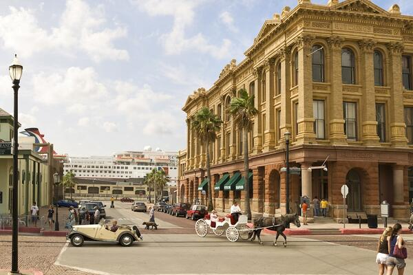 The Strand, a historic street in Galveston, Texas located near the cruise ship terminal (Photo: Galveston Island Convention & Visitors Bureau)