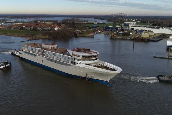 The float out of Silver Origin at the De Hoop shipyard in Lobith, the Netherlands (Photo: Silversea Cruises)