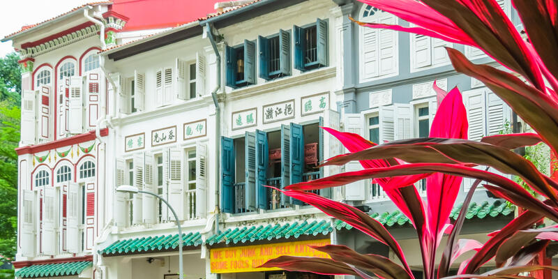 Duxton Hill is the residential area in Singapore with the remained colonial buildings