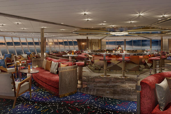Artist rendering of the Constellation Lounge on Seabourn Venture (Image: Seabourn Cruises)