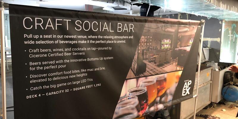 Signage for new bar Craft Social on Celebrity Apex