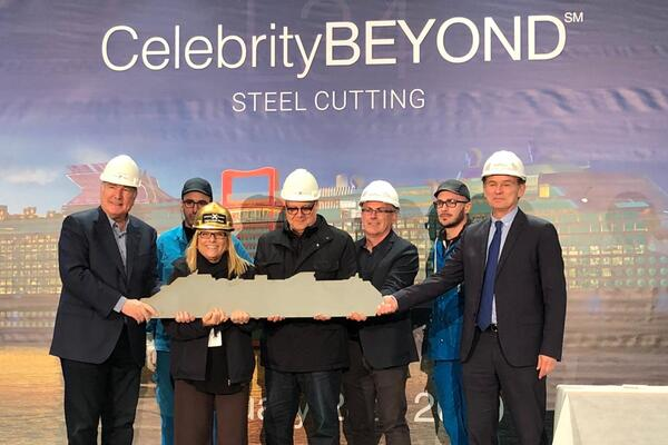 Celebrity Cruises VIPs at the Celebrity Beyond steel cutting ceremony at the St. Nazaire shipyard in France  (Photo: Adam Coulter)