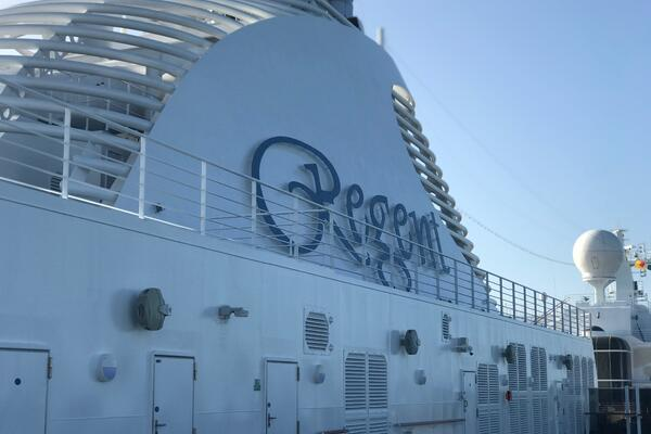 The funnel of Regent's Seven Seas Splendor (Photo: Kerry Spencer)