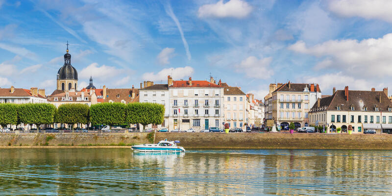 Buildings along the water in Chalon-sur-Saone, France