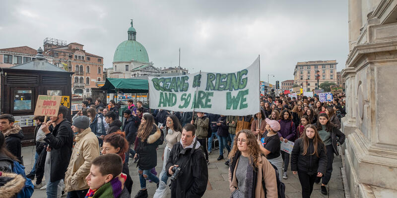 """Venice, Italy. 29th November, 2019. Youngsters take part in """"Fridays for future"""" demonstration, a worldwide climate strike against governmental inaction towards climate breakdown and environmental  (Photo: Stefano Mazzola/Shutterstock)"""
