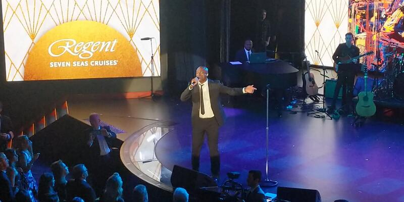 Seal performing at the Seven Seas Splendor christening