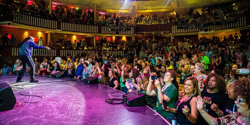 View of the crowd from the stage during a performance by The Commodores in the Celebrity Theater