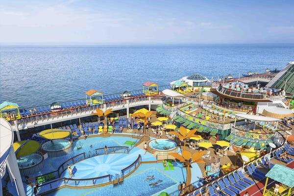 A reimagined pool deck on Freedom of the Seas.