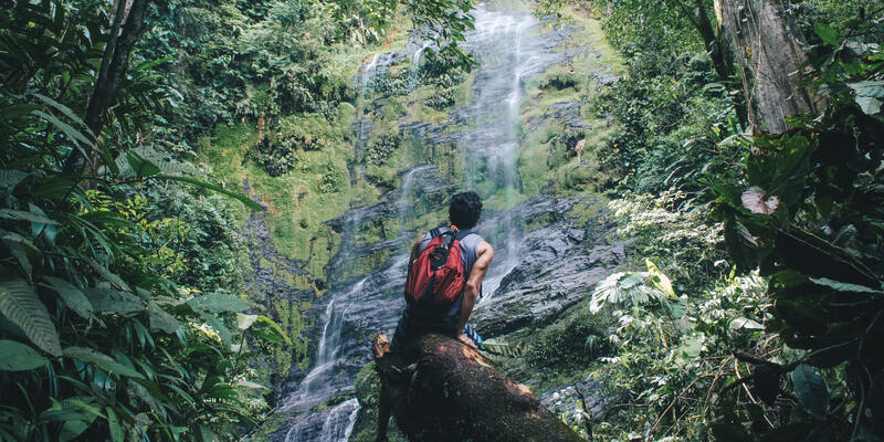 Male hiker sitting on a rock and looking up at a cascading waterfall in Trinidad