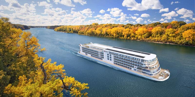 Exterior aerial rendering of Viking Mississippi cruising the Mississippi River in autumn