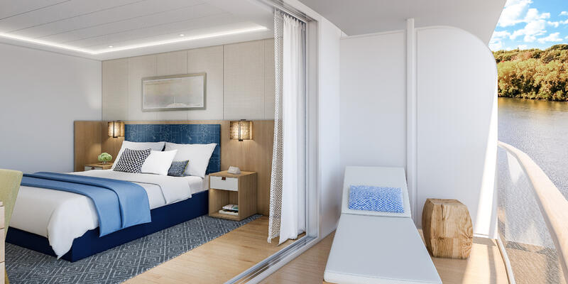 Rendering of the balcony and room interior of the Explorer Suite on Viking Mississippi