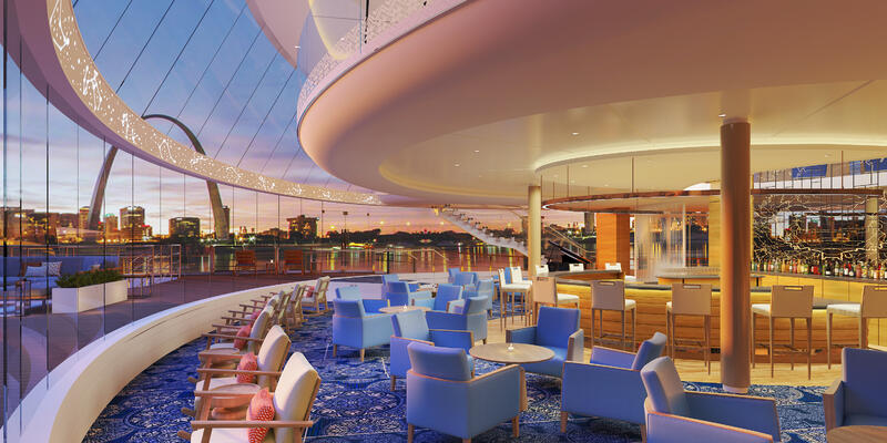 Interior rendering of the Explorers Lounge on Viking Mississippi, with St. Louis skyline at night in the background.